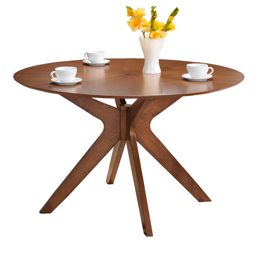 Balboa Modern Round Dining Table in Walnut