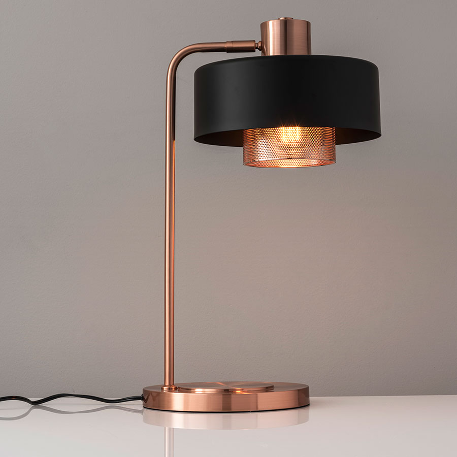 Good ... Banfield Modern Brushed Copper Table Lamp ...