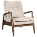 Barbarella Beige Fabric Upholstery + Walnut Wood Frame Contemporary Lounge Chair + Ottoman Set