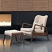 Barbarella Beige Fabric + Walnut Contemporary Lounge Chair + Ottoman Set