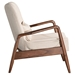Barbarella Beige Fabric + Walnut Wood Frame Contemporary Lounge Chair + Ottoman Set