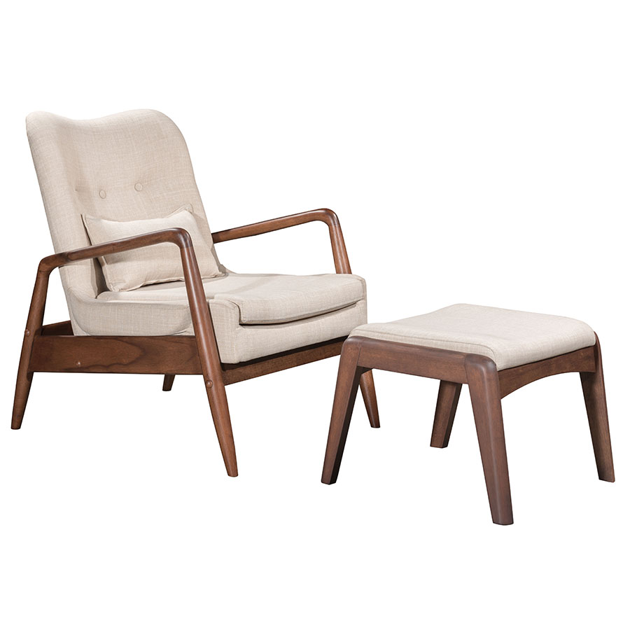 Barbarella Beige Fabric Upholstery + Walnut Wood Frame Modern Lounge Chair + Ottoman Set