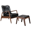 Barbarella Black Faux Leather Upholstery + Walnut Wood Frame Modern Lounge Chair + Ottoman Set