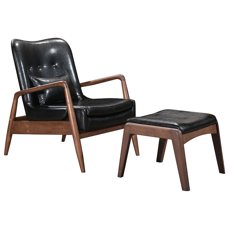 Call To Order · Barbarella Black Faux Leather Upholstery + Walnut Wood Frame  Modern Lounge Chair + Ottoman Set