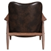 Bully Brown Faux Leather Upholstery + Walnut Wood Frame Modern Lounge Chair + Ottoman Set