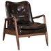 Barbarella Brown Faux Leather Upholstery + Walnut Wood Frame Contemporary Lounge Chair + Ottoman Set