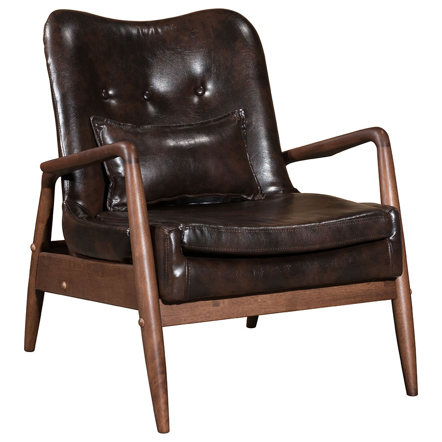 ... Barbarella Brown Faux Leather Upholstery + Walnut Wood Frame  Contemporary Lounge Chair + Ottoman Set ...