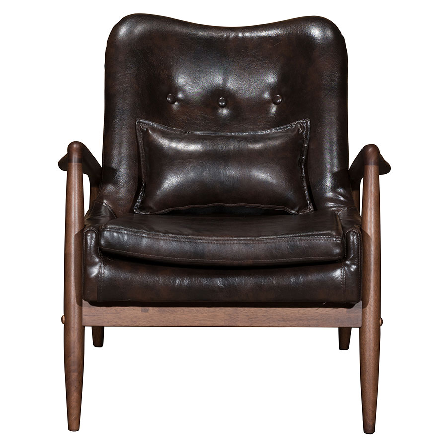 Barbarella Brown Faux Leather + Walnut Wood Frame Modern Lounge Chair +  Ottoman .