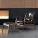 Barbarella Brown Faux Leather + Walnut Wood Modern Lounge Chair + Ottoman Set Room Shot