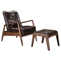 Barbarella Brown Faux Leather Upholstery + Walnut Wood Frame Modern Lounge Chair + Ottoman Set