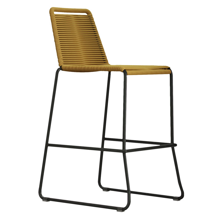 Modloft Barclay Curry Yellow Rope + Steel Modern Indoor + Outdoor Bar Stool