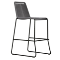 Modloft Barclay Light Gray Rope + Steel Modern Indoor + Outdoor Bar Stool