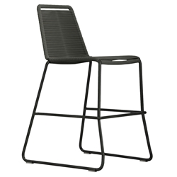 Modloft Barclay Dark Gray Rope + Steel Modern Indoor + Outdoor Counter Stool
