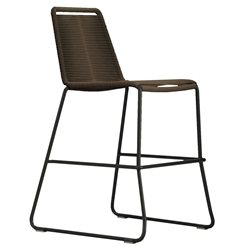 Modloft Barclay Mocha Rope + Steel Modern Indoor + Outdoor Counter Stool