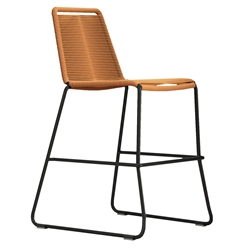 Modloft Barclay Orange Rope + Steel Modern Indoor + Outdoor Counter Stool