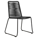 Modloft Barclay Black Rope + Steel Modern Indoor + Outdoor Dining Chair