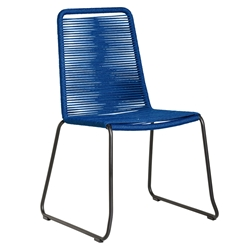 Modloft Barclay Blue Rope + Steel Modern Indoor + Outdoor Dining Chair