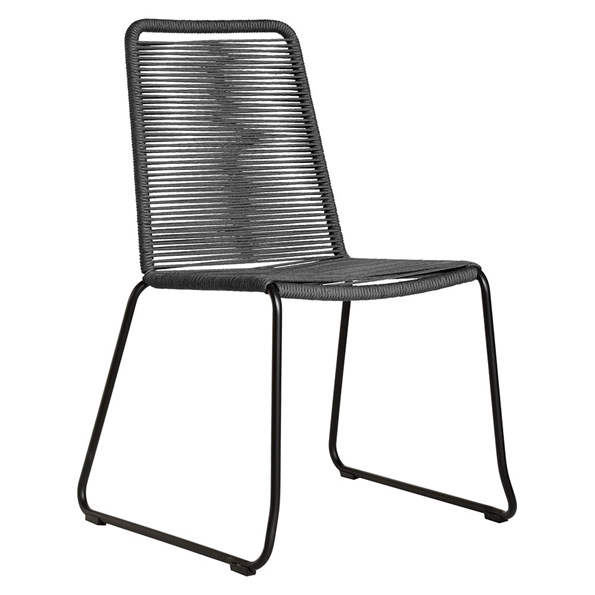 Modloft Barclay Dark Gray Rope + Steel Modern Indoor + Outdoor Dining Chair