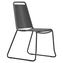 Modloft Barclay Light Gray Rope + Steel Modern Indoor + Outdoor Dining Chair