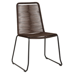 Modloft Barclay Mocha Rope + Steel Modern Indoor + Outdoor Dining Chair