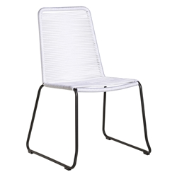 Modloft Barclay White Rope + Steel Modern Indoor + Outdoor Dining Chair