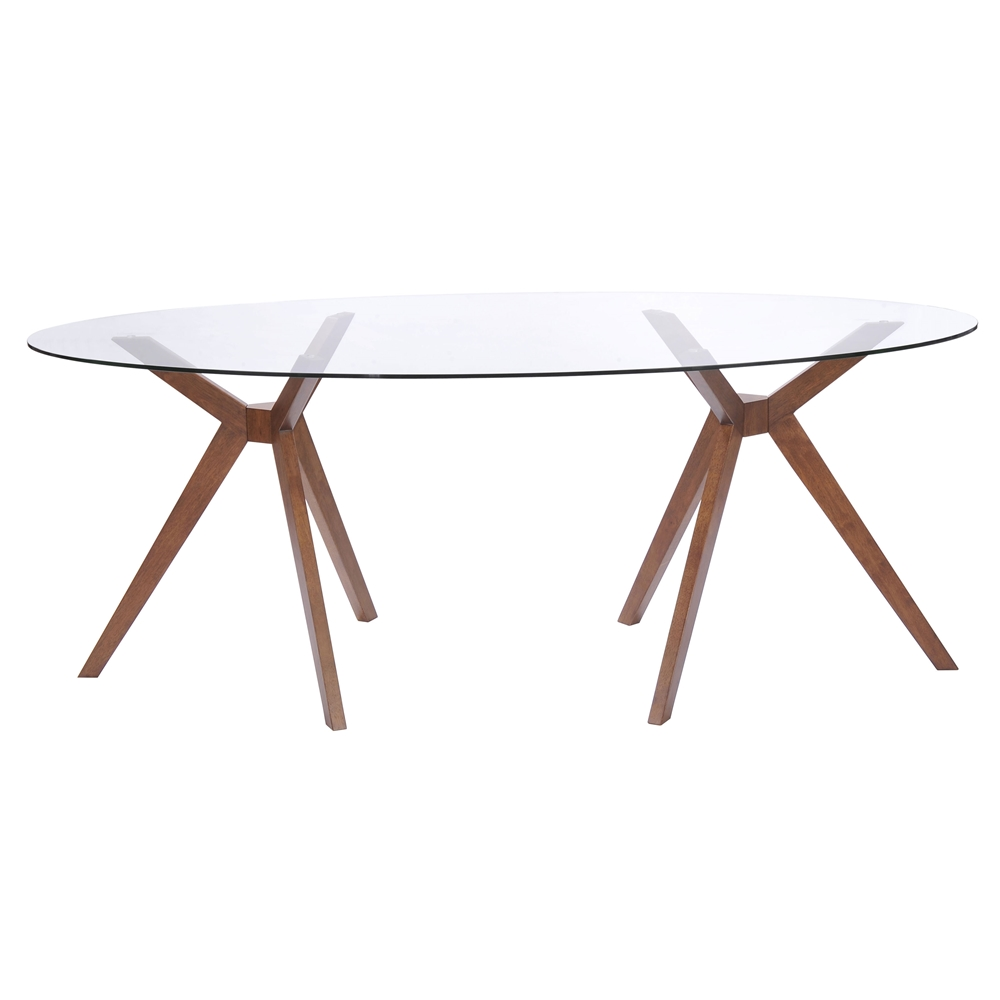 Outdoor table and chairs side view -  Barclay Modern Oval Dining Table Side View