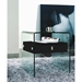 Baroque Black Lacquer + Bent Glass Modern Nightstand + End Table - Lifestyle