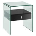 Baroque Black Lacquer + Bent Glass Modern Nightstand + End Table