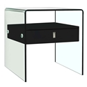 Baroque Black + Clear Glass Modern Nightstand + End Table