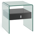 Baroque Gray + Clear Glass Modern Nightstand + End Table