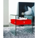 Baroque Red Lacquer + Bent Glass Modern Nightstand + End Table - Lifestyle