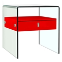 Baroque Red + Clear Glass Modern Nightstand + End Table