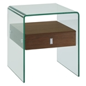 Baroque Walnut Veneer + Bent Glass Modern Nightstand + End Table