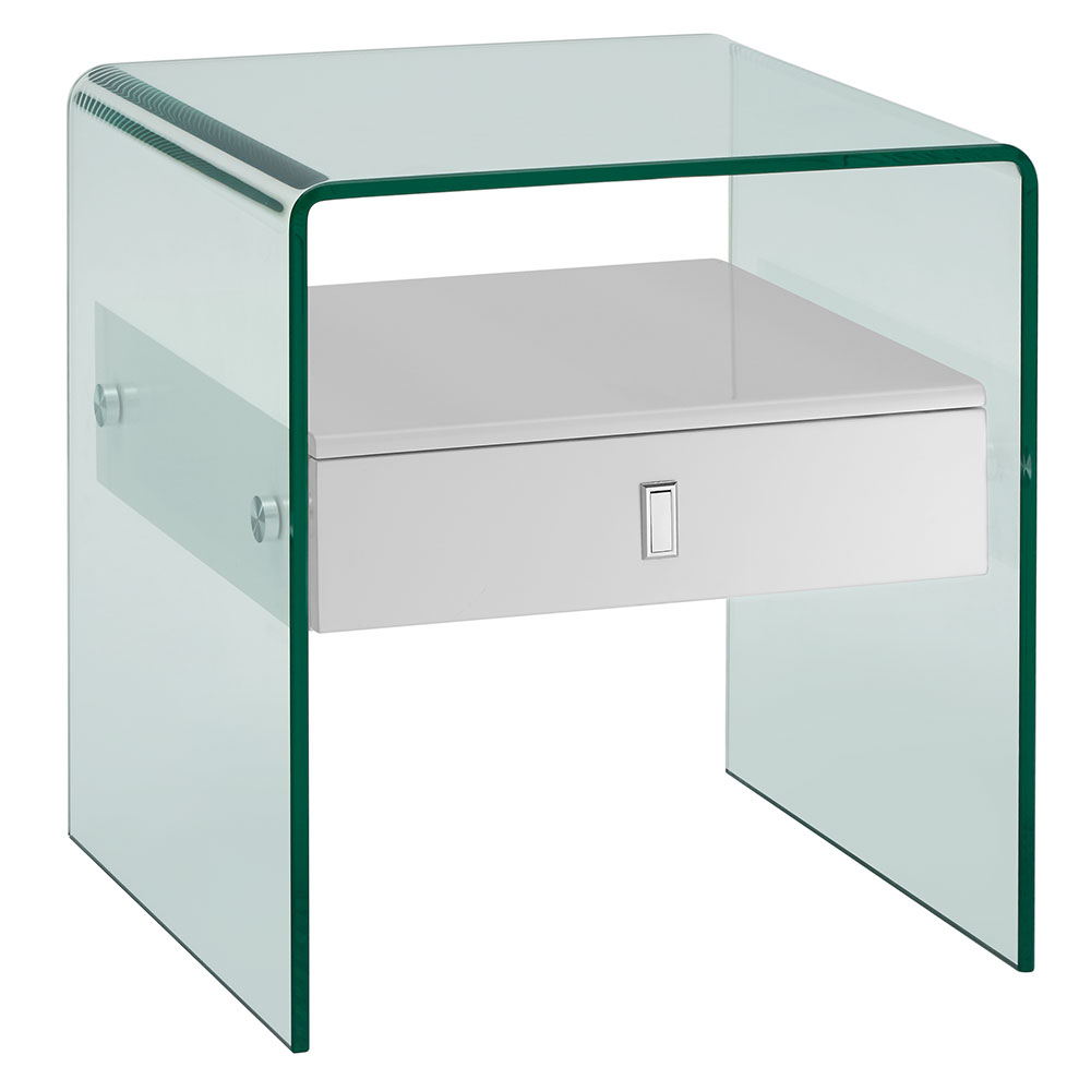 Baroque White Lacquer + Bent Glass Modern Nightstand + End Table