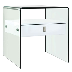 Baroque White + Clear Glass Modern Nightstand + End Table
