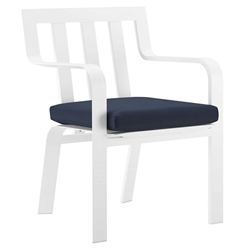 Barrett Modern White + Navy Outdoor Dining Chair