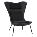 Bart Black Leather + Fabric + Metal Modern Lounge Chair