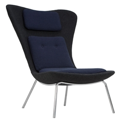 Bart Dary Gray + Navy Blue Fabric + Chromed Steel Modern Lounge Chair