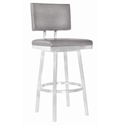 Bauer Gray + Brushed Steel Modern Armless Bar Stool