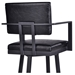 Bauer Black Steel Contemporary Barstool - Seat Back Detail