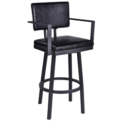 Bauer Black Steel Modern Bar Stool