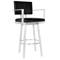 Bauer Black + Brushed Steel Modern Bar Stool