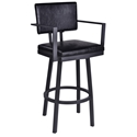 Bauer Black Modern Bar Stool with Arms