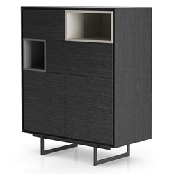 Modloft Baxter Gray Oak and Lacquer Modern Highboard