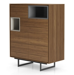 Modloft Baxter Walnut and Lacquer Modern Highboard