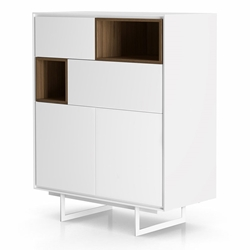 Modloft Baxter White Lacquer and Walnut Modern Highboard