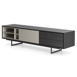Modloft Baxter Gray Oak and Lacquer Modern Media Stand