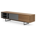 Modloft Baxter Walnut + Gray Lacquer Modern Media Cabinet