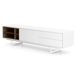Modloft Baxter White Lacquer + Walnut Modern Media Stand