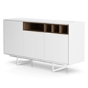 Modloft Baxter White Lacquer and Walnut Modern Sideboard
